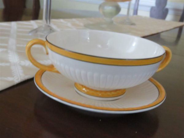 Footed Cream Soup Bowl & Saucer Set A7049 by WEDGWOOD 1