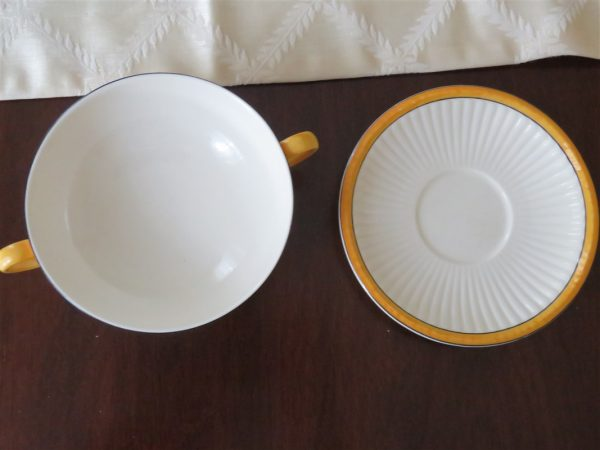 Footed Cream Soup Bowl & Saucer Set A7049 by WEDGWOOD